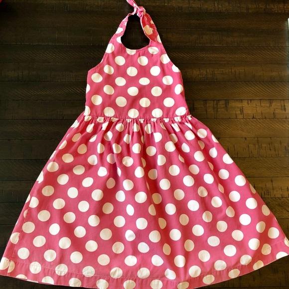 NWT NEW Mini Boden Girl 3 4 Green Halter White Polka Dot Sundress Dress